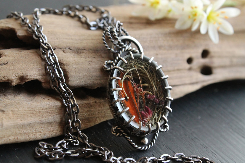 Butterfly Wing * Sterling & Fine Silver * Spring Swamp Locket