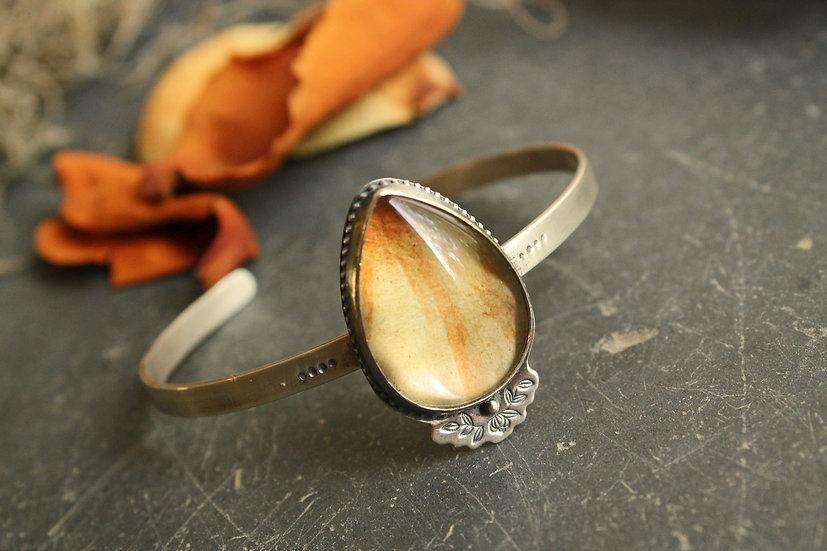 Cemetery Magnolia Petal Cuff * Sterling Silver * Glass