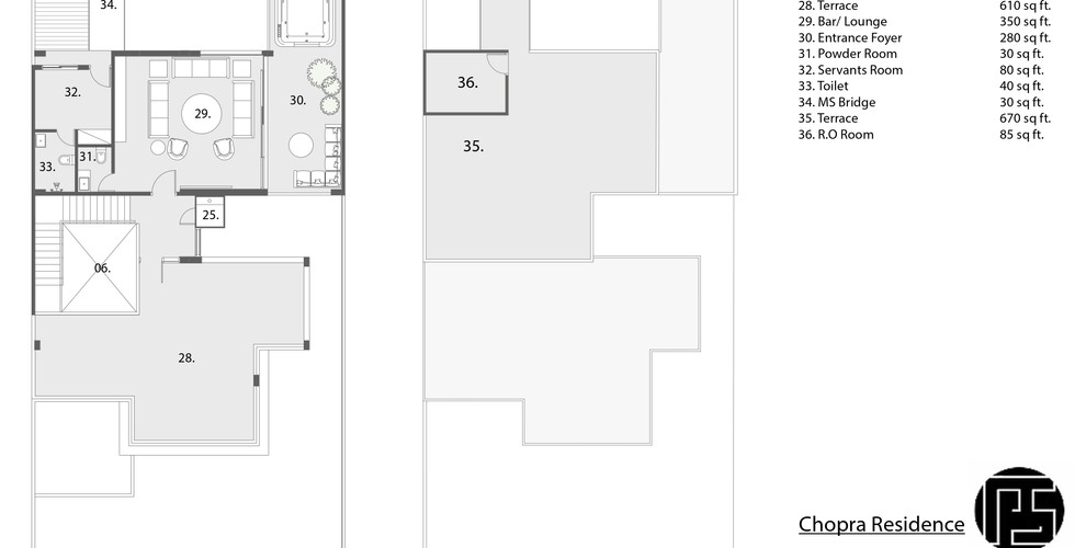 3rd floor and terrace floor plan