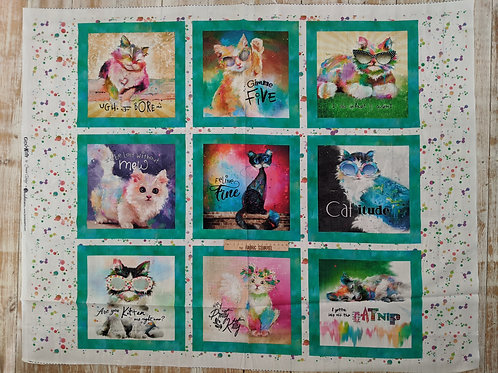 Good Kitty Cat Quotes Quilt Panel - from 3 Wishes Fabric
