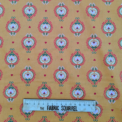 Orange Floral Heart Cotton Fabric - Maya Collection from Lewis & Irene
