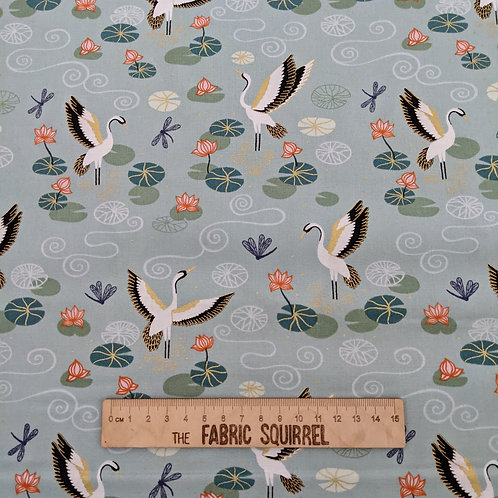 Heron Fabric on Duck Egg Blue with Gold Metallic - Jardin de Lis  by Lewis and I