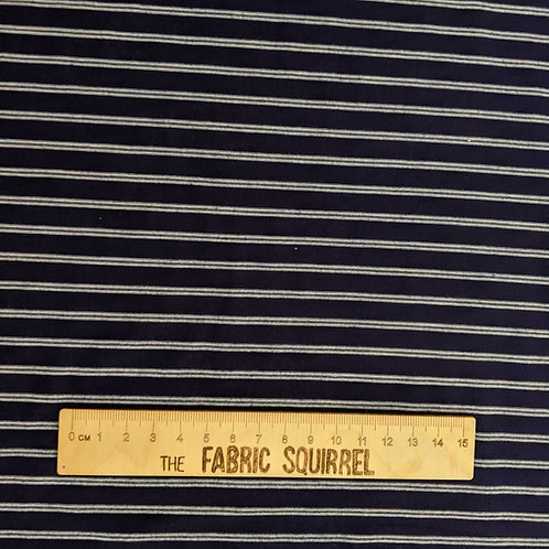 Navy and White Stripe Single Jersey - Stretch Dressmaking Material