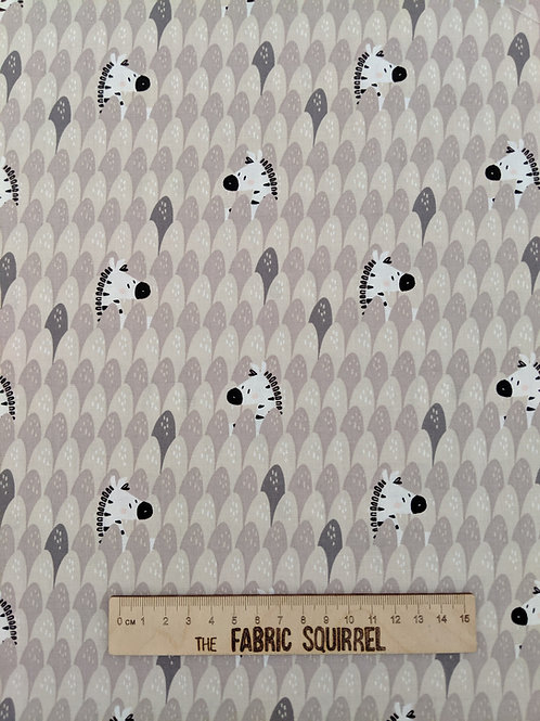 Peek-A-Boo Zebra Fabric - Grey Cotton Material from Camelot Fabrics