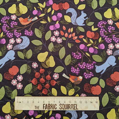 Orchard Fabric - Brown Autumn Fabric - Squirrels, Birds, Pears and Apples
