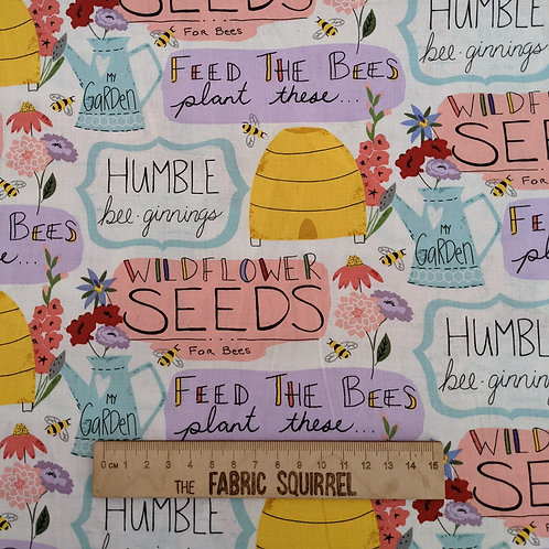 Bee Phrases Fabric - Feed the Bees by 3 Wishes Fabrics