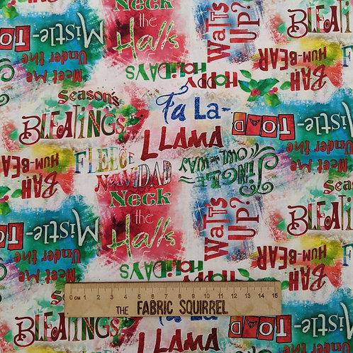 Sassy Holidays Fabric - Christmas Words and Phrases