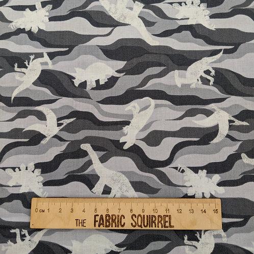Blue Grey Dinosaur Camouflage Fabric - Kimmeridge Bay from Lewis & Irene