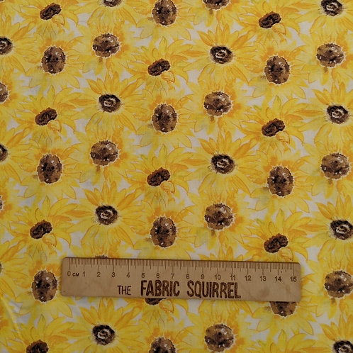 Sunflower Cotton Fabric on a White Background