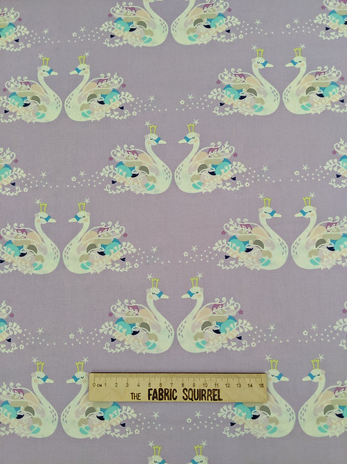 Pas De Deux Swan Pair on Lilac Fabric - from Camelot Fabrics Out of This World