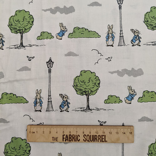 Peter Rabbit London in the Park on White Cotton Fabric