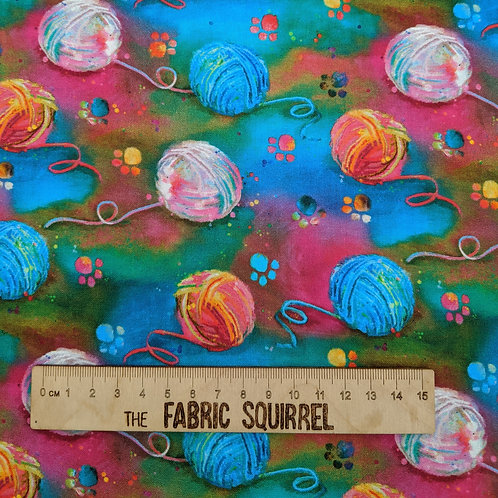 Balls of Wool Cat Fabric - Good Kitty from 3 Wishes Fabric