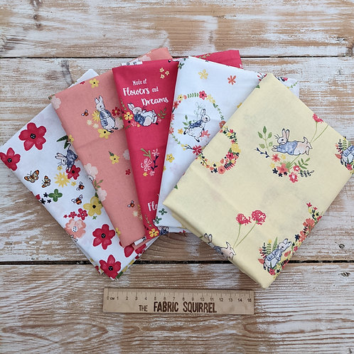 Peter Rabbit Flowers and Dreams Fat Quarters x5
