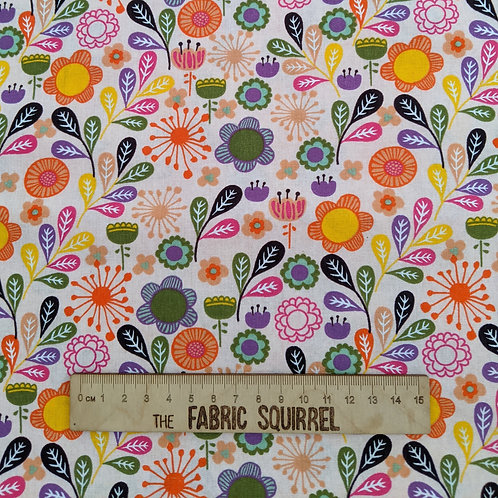 Colourful Flowers on White - Meadow Birds Fabric Collection