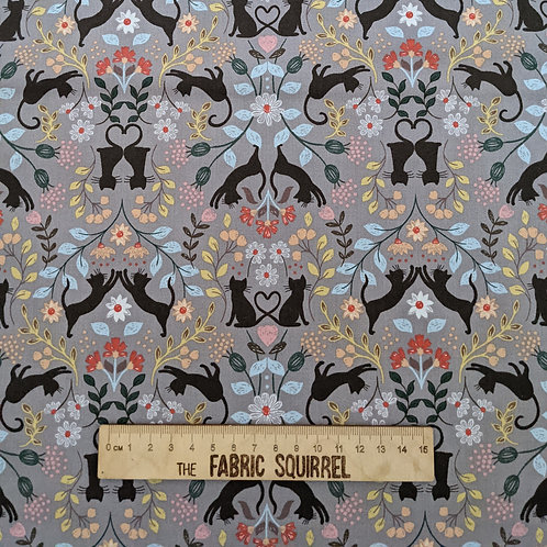 Love Cat fabric on Grey - Purrfect Petals from Lewis and Irene