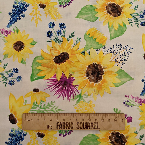 Sunflower Fabric - Floral Bouquets of Sunflowers and Summer Flowers on a white b