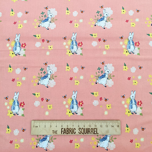 Pale Pink Peter Rabbit Fabric - Peter Rabbit Flowers and Dreams Fabric