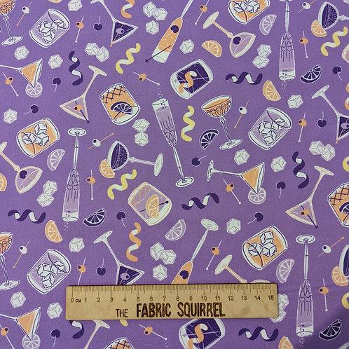 Purple Cocktail Glasses Fabric - Clink! by Figo Fabrics