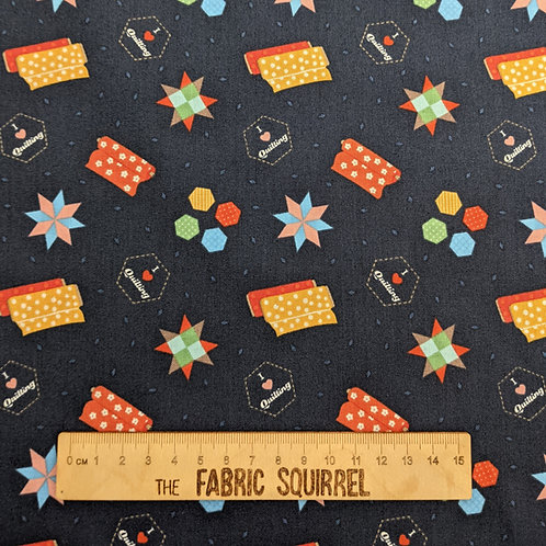 Navy Blue Quilting and Patchwork Theme Fabric - Small World Crafts by Lewis and
