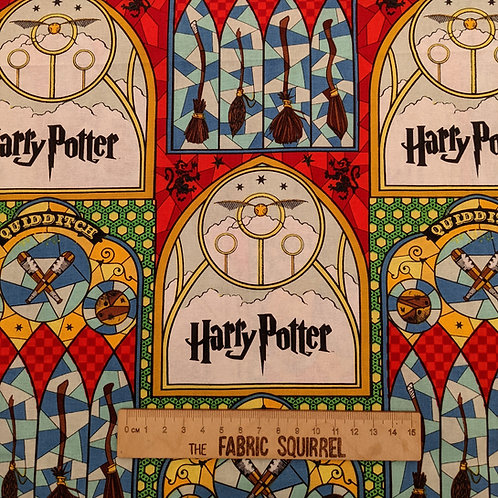 Harry Potter Quidditch Fabric - Stain Glass Windows Material