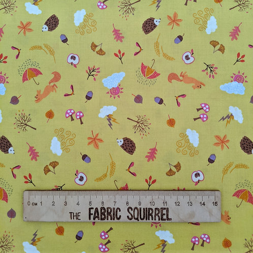 Autumn Themed Yellow Fabric from Lewis & Irene