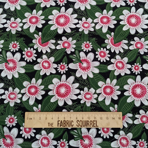 White Flowers on Black - Green and Pink Floral Collection