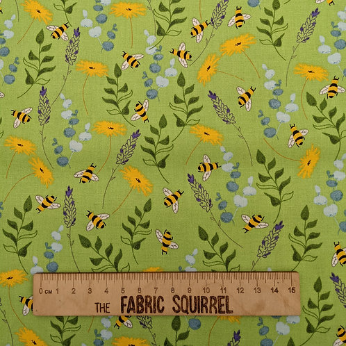 Green Bee Fabric - Feed the Bees by 3 Wishes Fabrics