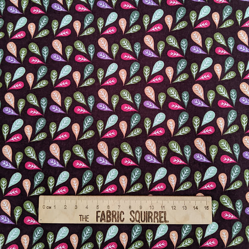 Colourful Leaves on Brown - Meadow Birds Fabric Collection