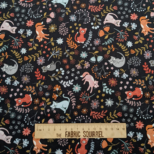 Cat Fabric on Black - Purrfect Petals by Lewis and Irene - Multidirectional Flor