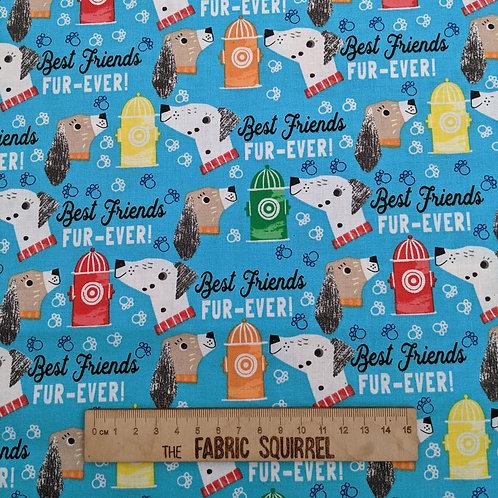 Turquoise Best Friends Fur Ever Dog Fabric - Best Friends Fur Ever