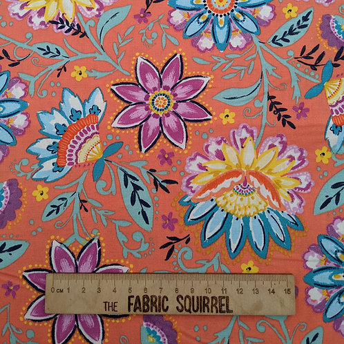 Mango Orange Florals - Summer Song by 3 Wishes Fabric