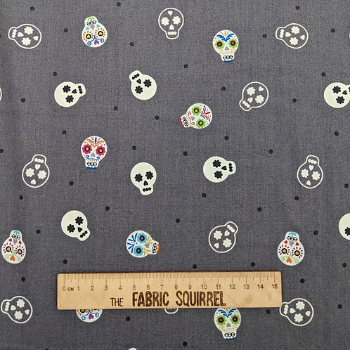 Sugar Skulls on Grey Glow in the Dark - Lewis and Irene Small Things Glow