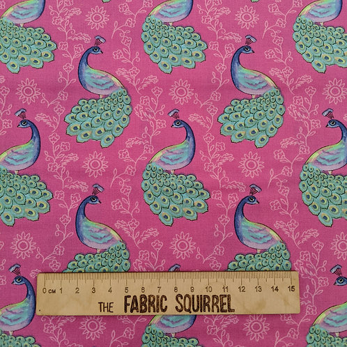 Peacocks on Pink Fabric - Elegant Peacock