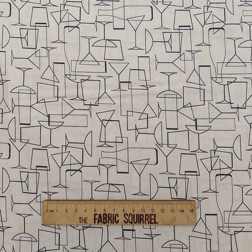 Cocktail Party Fabric - Cocktail Drinks on White from Lewis & Irene