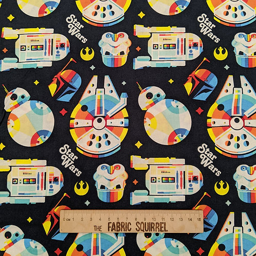 Star Wars Fabric - Retro Colourful Rainbow Licensed Fabric - R2D2, Millenium Fal