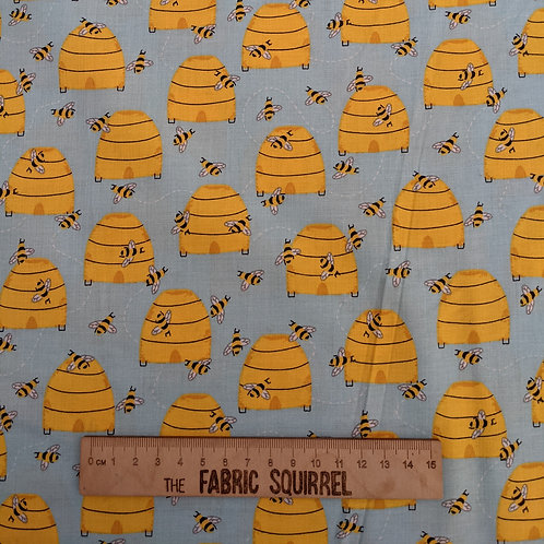 Blue and Yellow Beehive Fabric - Feed the Bees by 3 Wishes Fabrics