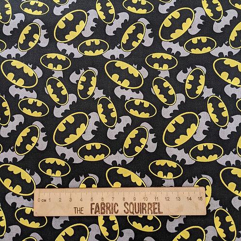 Batman Fabric - Black and Yellow Batman Logo from Camelot Fabrics