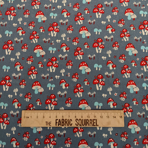 Mushroom Fabric on Grey - Red Toads Stools Material - Enchanted Forest by Camelo