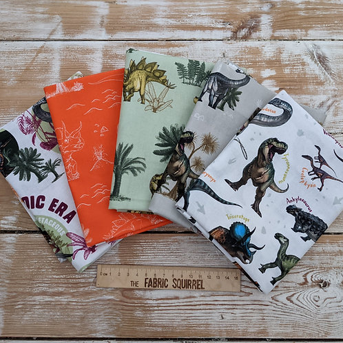 Age of the Dinosaurs Fat Quarter Bundle from the Natural History Museum