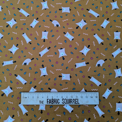 Rusty Orange Flying Squirrel Fabric - Treehouse Collection from Figo Fabrics