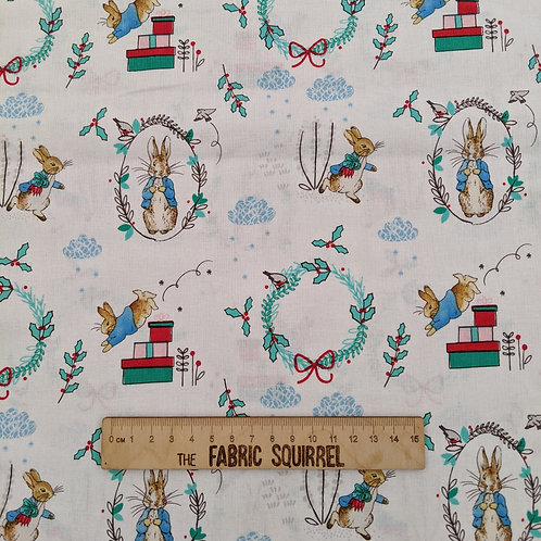 Peter Rabbit at Christmas Fabric - Wreaths on White