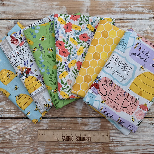 Feed the Bees - 3 Wishes Fabrics x6 Fat Quarters
