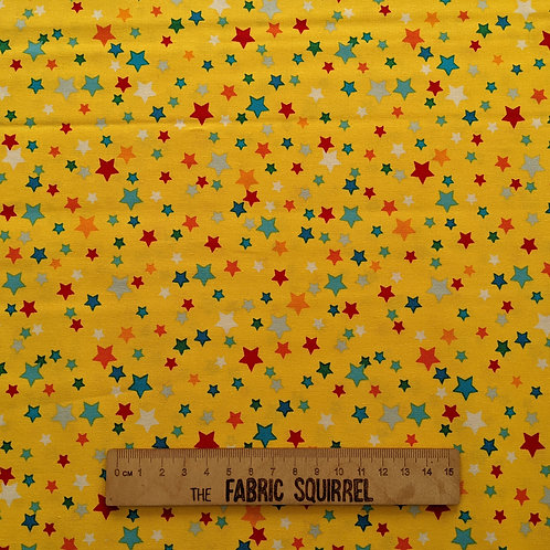 Yellow Rainbow Stars - Happy Clouds and Rainbow Fabric