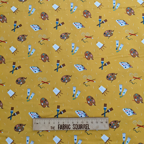 Yellow Painting Fabric - Artist Material - Small World Crafts by Lewis and Irene