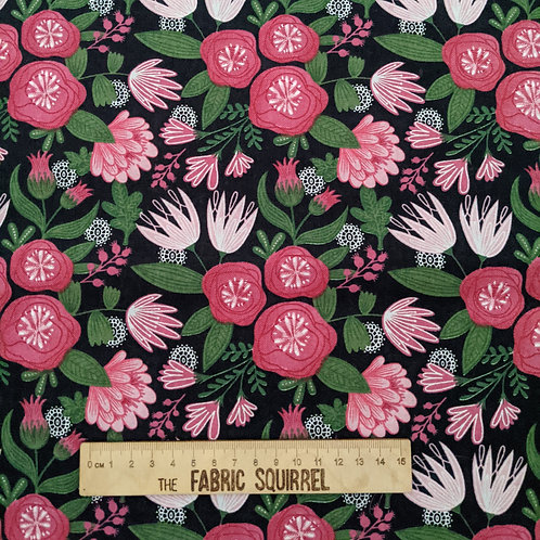 Pink Flowers on Black - Green and Pink Floral Collection