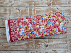 Cottage Blooms Red Floral Fabric - Border Print - Ditsy Florals