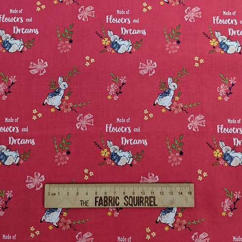 Dark Pink Peter Rabbit Fabric - Peter Rabbit Flowers and Dreams Fabric