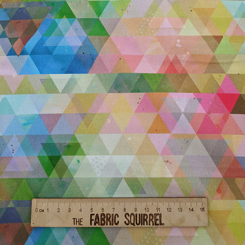Geometric Rainbow Triangles - Owl Out from 3 Wishes Fabric