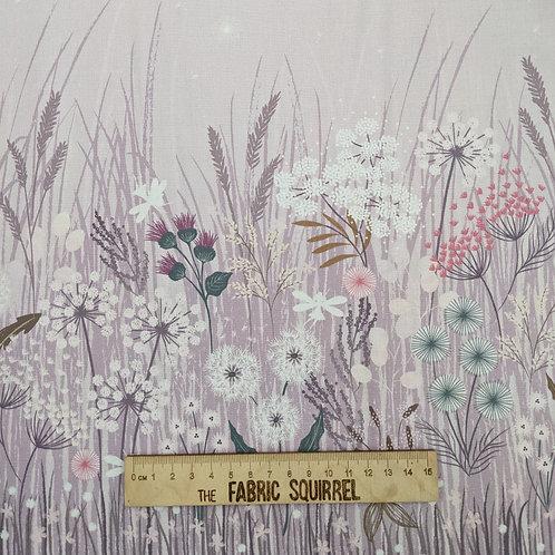 Dandelion Border Pale Purple Border Print - Fairy Clocks by Lewis and Irene