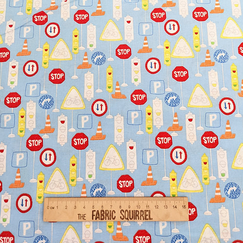 Blue Road Sign Fabrics - Move N Along Fabric Collection